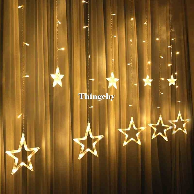 220v 138pcs led fairy string lights star curtain lights waterproof outdoor christmas decorations for home wedding - Outdoor Christmas Star Decoration