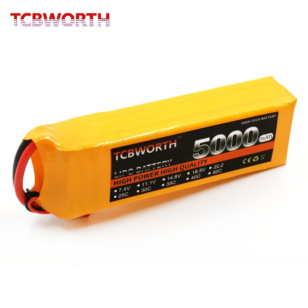 TCBWORTH 4 S RC LiPo batteria 14.8 V 5000 mAh 40-80C Per RC Elicottero Quadrotor Aerei AKKU Drone Auto Camion batteria LiPo 14.8 v