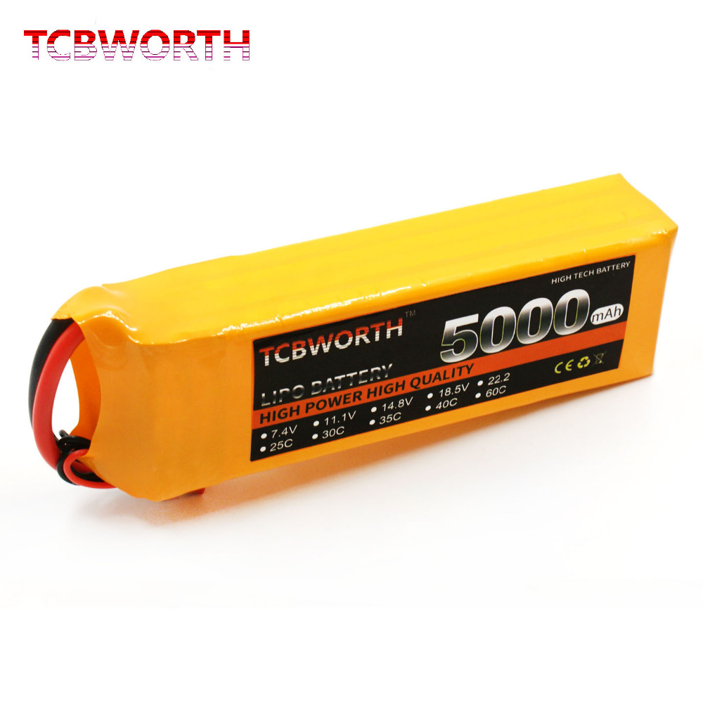 TCBWORTH 4S RC LiPo battery 14.8V 5000mAh 40-80C For RC Helicopter Quadrotor Airplane AKKU Drone Car Truck Li-ion battery tcbworth rc drone lipo battery 3s 11 1 v 2200 mah 35c max 70c for rc airplane helicopter car li ion batteria akku