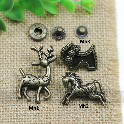 50setslot horse deer cute design leather craft metal snap button DIY sewing accessories