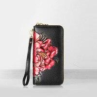 Ladies Genuine Leather Wallet Women Fashion Long Zipper Wallets Luxury Brand Coin Purse Female Clutch Printing Wallet