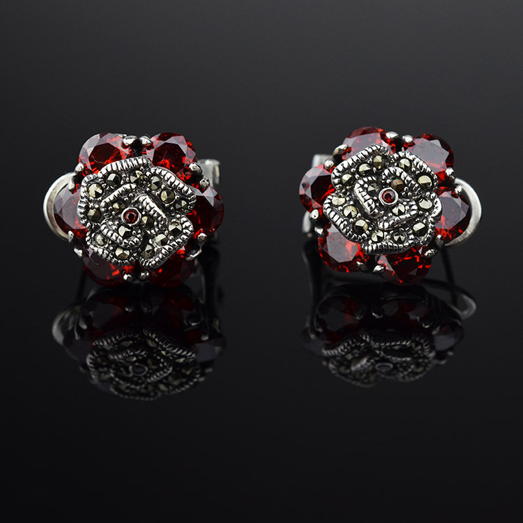 925 Thai silver rose earrings inlaid Mosaic stones red corundum stud earrings blue corundum stud earrings glitter hoop stud earrings