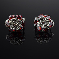 925 Thai silver rose earrings inlaid Mosaic stones red corundum stud earrings blue corundum stud earrings