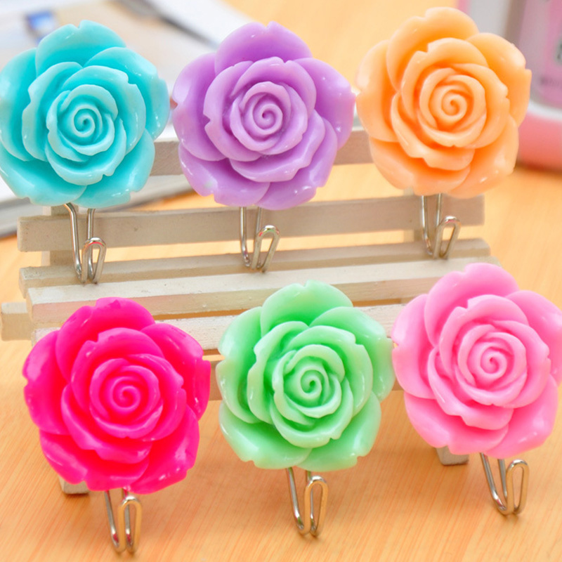 Wholesale 2pcs strong sticky plastic flower hook seamless for Rose adesive
