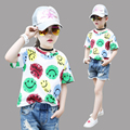 Kids Cartoon T-Shirts For Girls Children Clothing Short Sleeve Girls Tees Summer Smiling Face T-Shirts Girls Tops 4 5 7 9 11 13Y