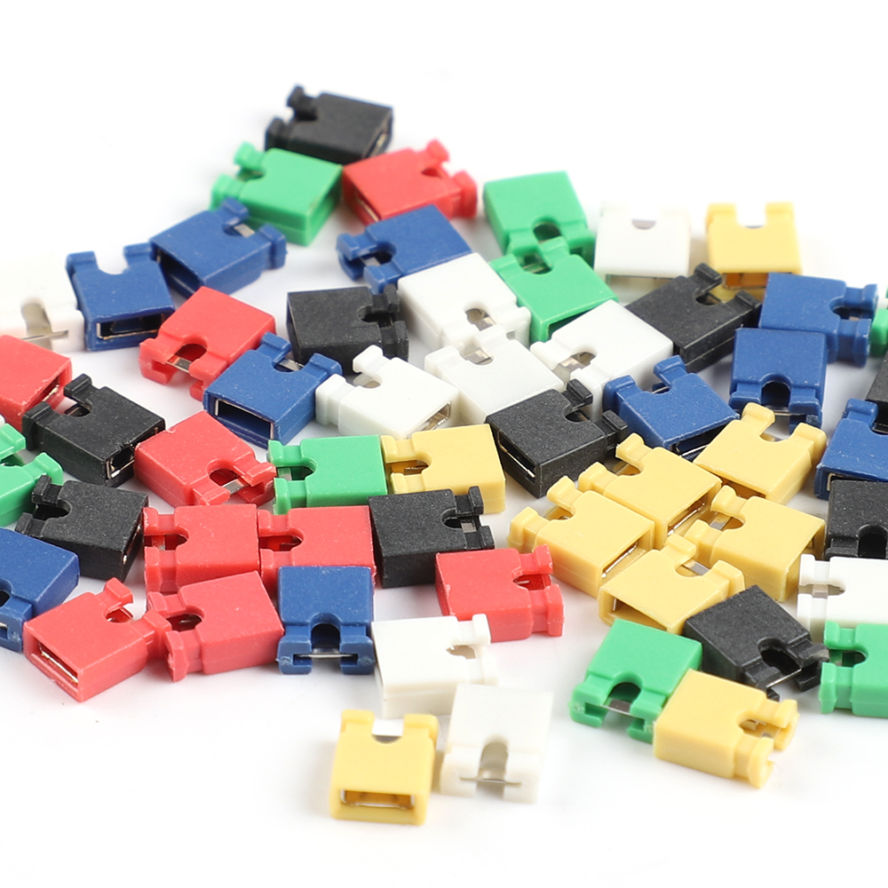 10 Pcs Six Color White/Black/Red/Yellow/Green/Blue 2.54mm Jumper Cap Header Pin Shunt Short Circuit Connector Open Top