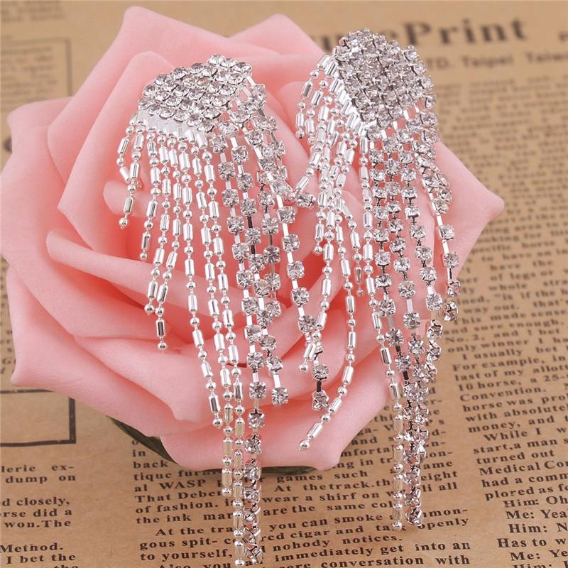 Grace Jun New Arrival Big Heart  Shape Tassel Rhinestone Clip on - Fashion Jewelry - Photo 4