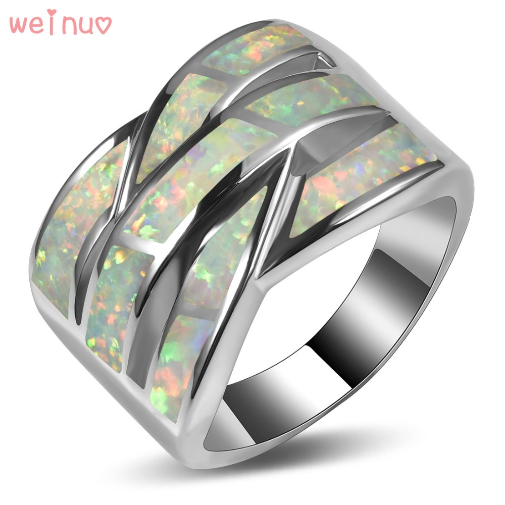 цена на Weinuo White Fire Opal Ring 925 Sterling Silver Top Quality Fancy Jewelry Wedding Ring Size 5 6 7 8 9 10 11 A315