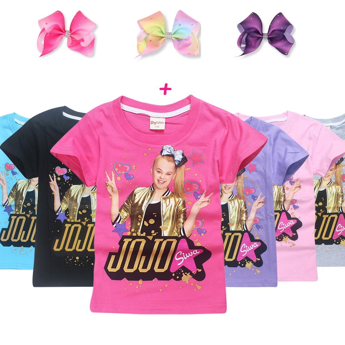 2018 New Children Summer t shirt girls boys Clothes jojo siwa Clothing Short Sleeve T-shirt Kids Cartoon Cotton Tshirt Tops Tees front ensemble shirt ideas