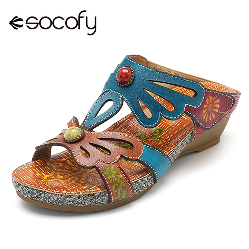 Socofy Bohemian Slides Slippers Women Shoes Genuine Leather Shoes Woman Handmade Flower Hook Loop Slippers Beach Sandalias Mujer socofy bohemian genuine leather shoes women sandals vintage printing forest hook loop wedge heel women slippers summer new