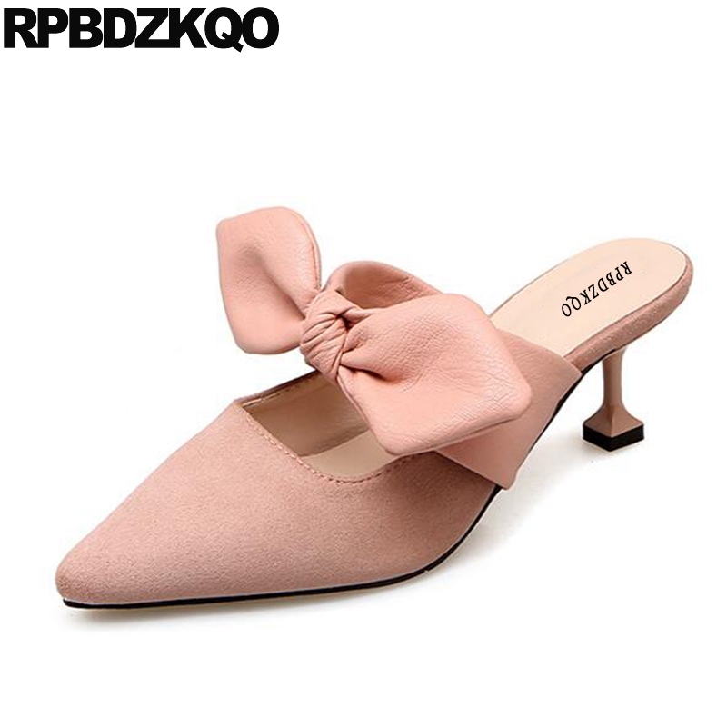 Female High Heels Kawaii Pumps Size 4 34 Pointed Toe Ladies Kitten Shoes Bow Suede Sandals Mules Slipper Pink Medium Chinese pointed toe slip on high heels strappy 2017 chic size 4 34 black ladies kitten sandals medium fashion low summer shoes slingback page 7