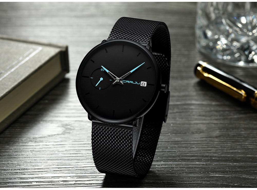 Crrju Sports Date Mens Watches Top Brand Luxury Waterproof Sport Watch Men Ultra Thin Dial Quartz Watch Casual Relogio Masculino 20