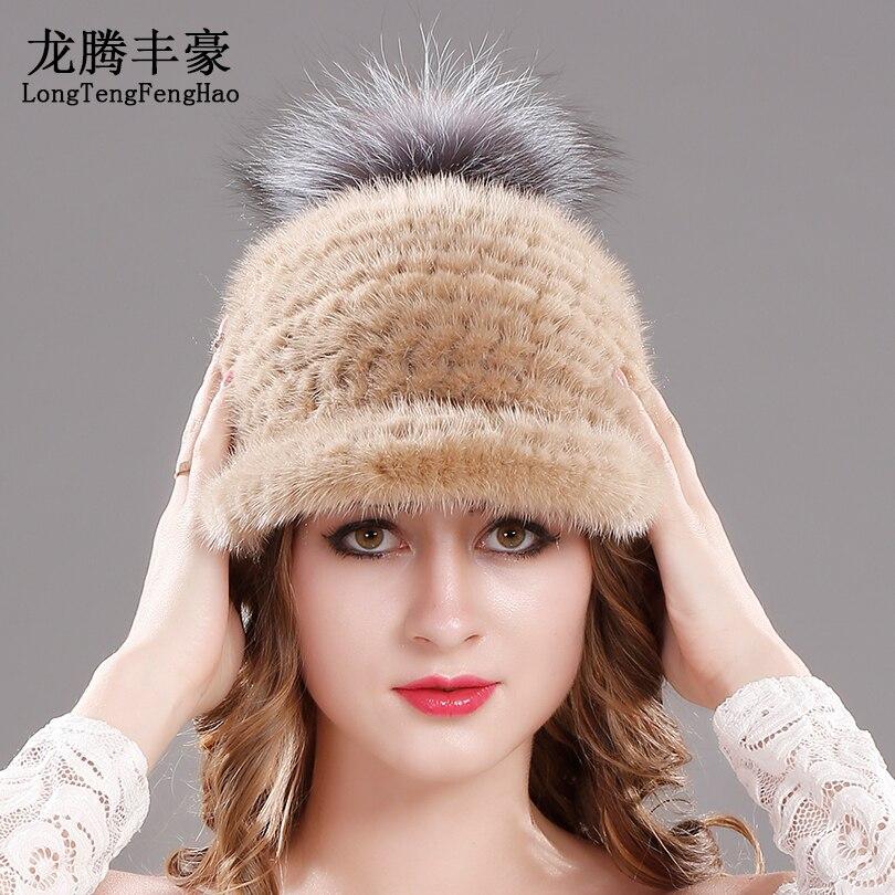 Mink fur hat winter Genuine Knitted 2017 Russian fashion elegant ladies Warm hat Fur hats solid color Soft warm hat female cx c 12a genunie mink fur ladies fashion hats drop shipping