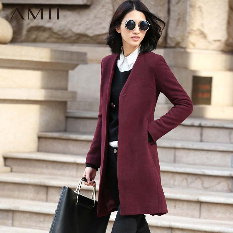 Amii Casual Women Woolen Coat 2018 Winter Slim Single Button V Neck Female Wool Blends