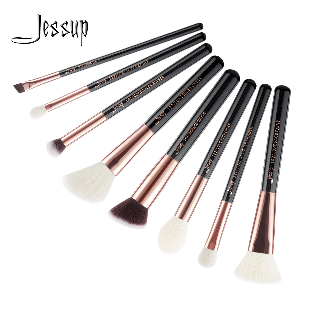 Jessup Brushes 8 unids Oro rosa / Negro Pro Pinceles de maquillaje Set Pincel de maquillaje Kit de herramientas Buffer Paint Cheek Highlight Shader line T159