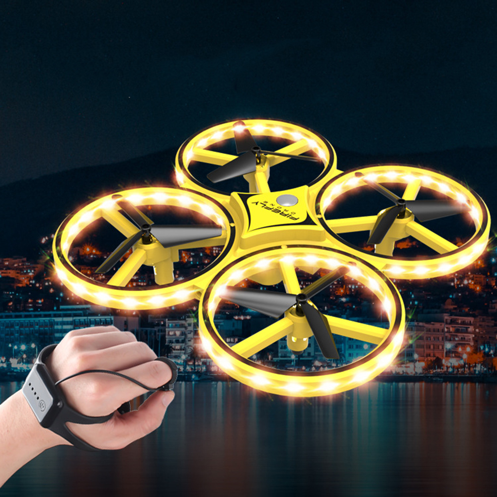 2019 Pneumatic Smart Watch Remote Control Toy Operate Aircraft Drone Remote Control Gravity Sense Aircraft Toy(China)