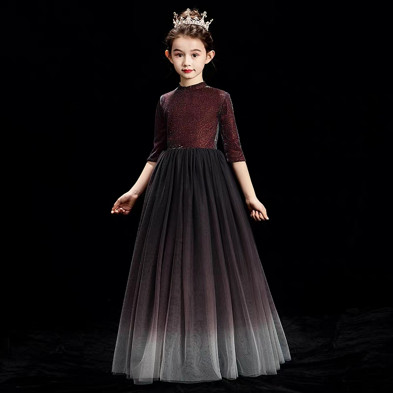 3-14 Years Kids Girls Evening Birthday Party Tulle Long Dress Elegant Princess Party Pageant Formal Ball Gown for Teens Children