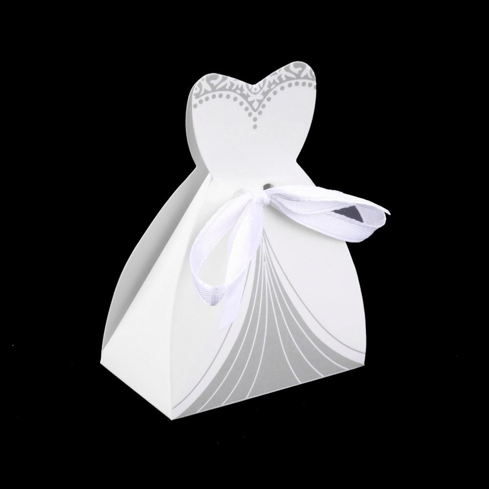 50Pcs Bridal Gift Cases Groom Tuxedo Dress Gown Ribbon Wedding Favor ...