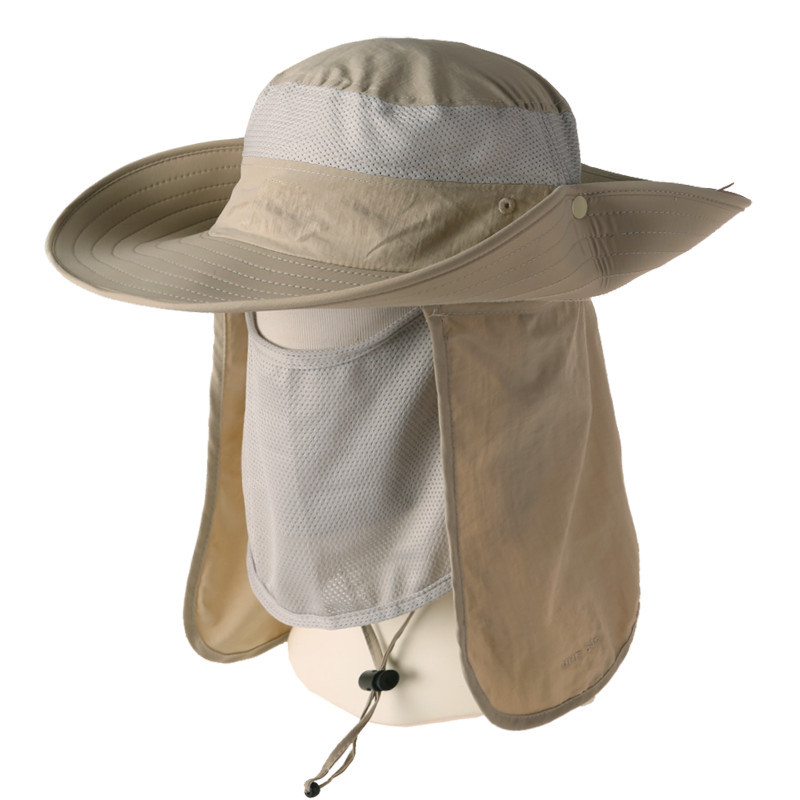 d0a20005181 2015 Men Women s Khaki Fisherman Hat UV SUN Protection Travel Climbing  camping Golf Sports Face Cover Hat Jungle Forest Cap-in Bucket Hats from  Apparel ...
