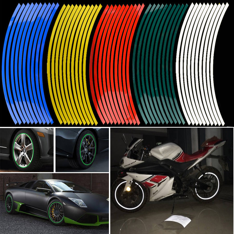 Newest 16 pcs strips wheel stickers and decals 14 17 18 reflective rim tape bike motorcycle