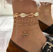 Gold Shell Bee Alloy Anklets For Women Creative 4Pcs/Sets Color Crystal Animai Leg Bracelet Punk Girl Foot Jewelry Gift