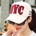2017 nuevas mujeres nyc ny gorras de béisbol sombreros snapback caps fresco Hip Hop Sombreros Ajustables de Algodón Marca Casquillos Del Verano Parasol Sombreros