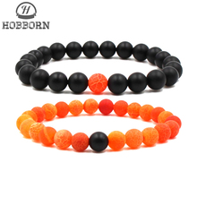 HOBBORN Trendy 8mm Natural Stone Bracelet Women Men Matt Weathered Onxy Mix Strand Romantic Couple Love Beads Bracelets Jewelry