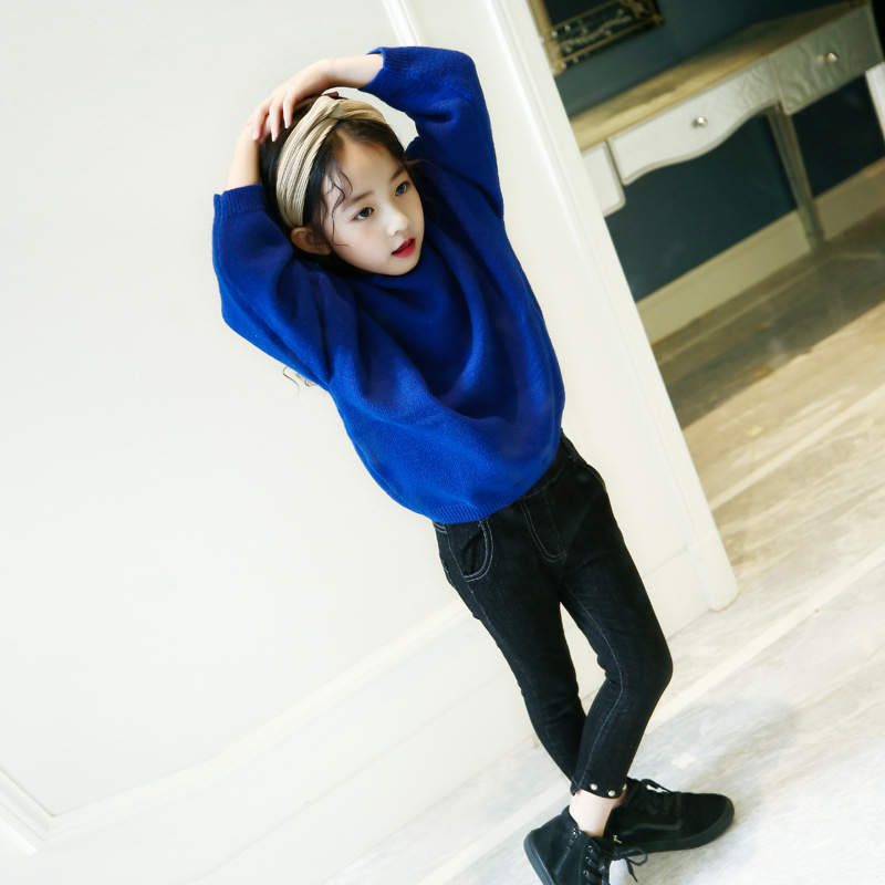 Retail 1pcs 2018 New Design Kids Girls Beautiful Autumn Red&Blue A Word Collar Batwing Sleeve Loose Knitting Sweater Age 3-14Yrs