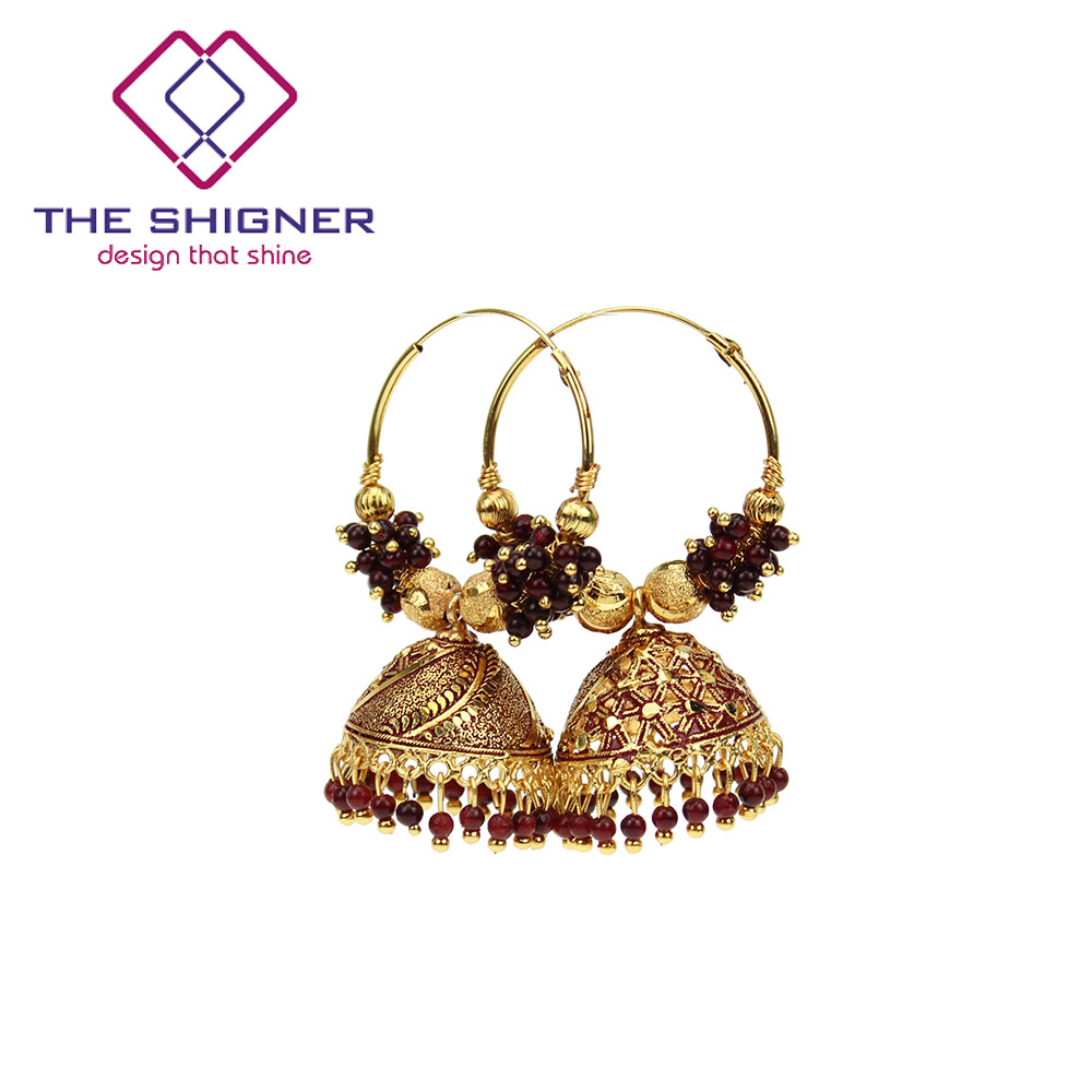 Wholesale Jewelry Bali The Shigner Traditional Indian Gold Colorful Beads Bali Hoop Jhumki Jhumka Earrings Bollywood Style Ring Jhumka Earring Jewelry