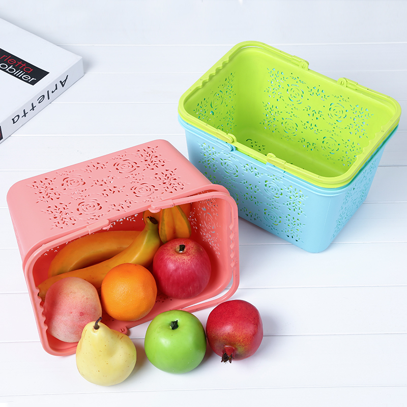 Rectangle Flower Hollow Plastic Storage Basket Candy Color Home Grocery Clothes Fruits Portable Organization Bathroom Organizer