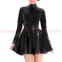 Long Sleeve Rubber Latex Women Dance Dress  with  Back Zip to Waist LD214