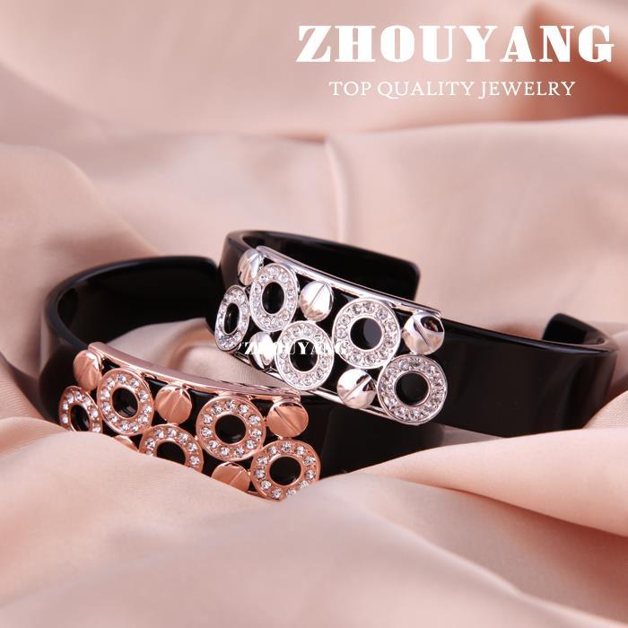 Мужские браслеты черный прекрасный круглый серебристый браслет ювелирное изделие Сделано с настоящими Австрийскими кристаллами ZYB018 ZYB017