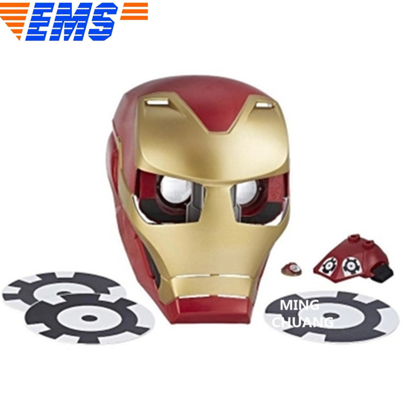 Helmet Head Cover With Led Light Plastic Action Figure Toy Box D875 Chills And Pains Avengers Infinity War Iron Man Mask 1:1 life Size