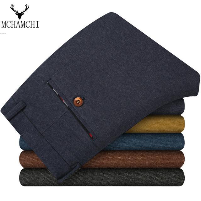 MCHAMCHI Cor Sólida Verão Outono de Negócios de Moda Casual Homens Magros Retas Calças Compridas Multicolor Marca Formal do Negócio Masculino