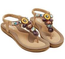 Size 4~11 Big Size Rome Sandals Women Shoes Beading Beach 2016 Summer Women Flats Shoes sandalias mujer (Check Foot Length)