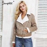 Simplee Leather Suede Lamb Fur Jacket Coat Women Faux Suede Jacket Belt Turn Down Winter Coat