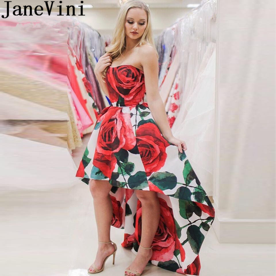 JaneVini Floral High Low Prom Dresses Strapless Red Rose Print Flowers Gala Dress Short Front Long Back Party Gown Vestidos Prom