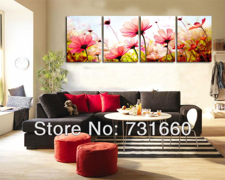 Aliexpress Com Buy 4 Pieces Free Shipping Modern Flower Art