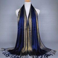 QA1092 Gold Thread Shiny Solemn Muslim Hijab Tassel Winter Women Scarf Super Long Shawl Wrap Street