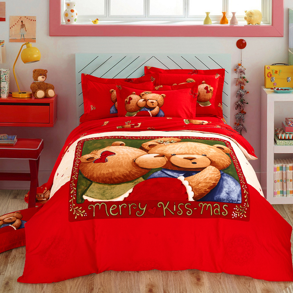 Papa&Mima Cute bear print bedlinens Sanding cotton bedding set Queen King size flat sheet pillowcases duvet cover sets Papa&Mima Cute bear print bedlinens Sanding cotton bedding set Queen King size flat sheet pillowcases duvet cover sets