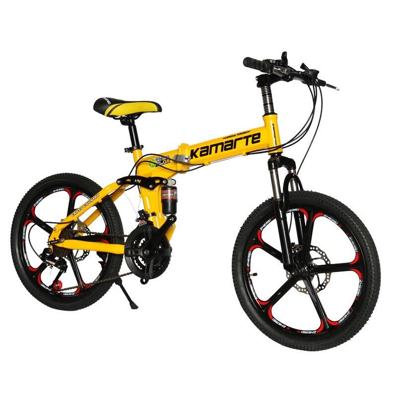 20 pouces pliant VTT 21 vitesses enfants vélo deux disques frein dame vélo 5 couteau roue et roue à rayons vélo pliant