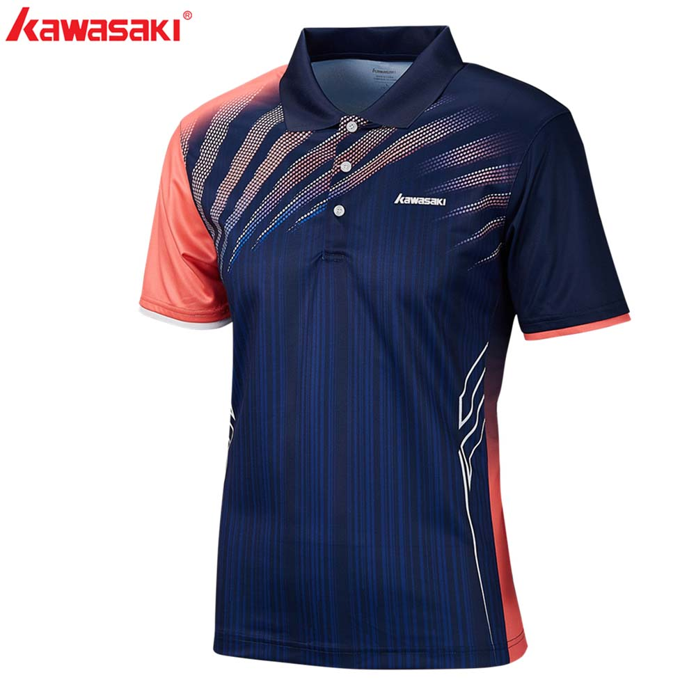 2019 Genuine Kawasaki  Lapel Shirt For Sports Badminton Tennis T Shirt Male Outdoor Sports Training Quick Dry Shirts  ST-S1101
