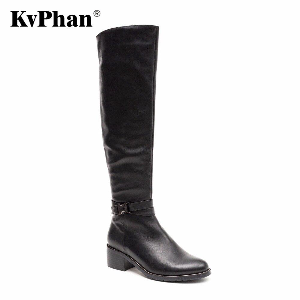 KvPhan 2017 Genuine Leather Knee High Women Shoes Winter Round Toe Square heel High Boots Short Plush Autumn black 35-40 size вытяжка подвесная indesit h 151 ix серебристый