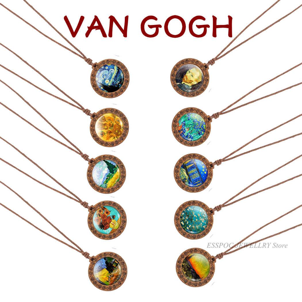 Van Gogh Pittura A Olio di Arte Della Collana di Legno Dei Monili Cabochon In Vetro di Modo Notte Stellata Girasole Pendente di Legno Donne Degli Uomini del Regalo