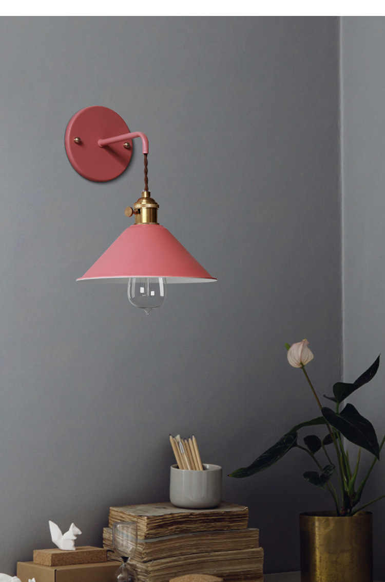 Современная настенная лампа, настенная лампа, красочный настенный Лофт-светильник, бра с переключателем, лампа, Американская страна, гостиная, учебный светильник для спальни