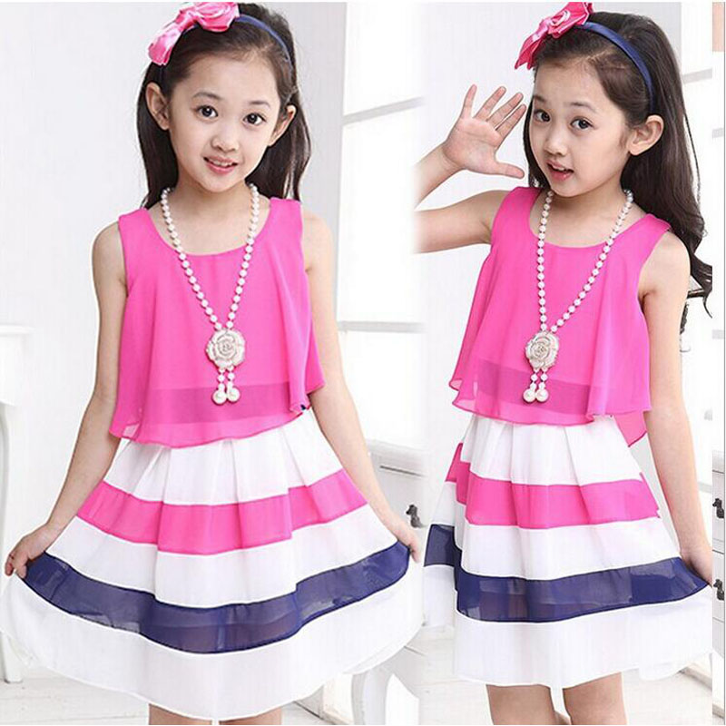 01ebc5a0c880 2019 new summer 4-15 age girls dress casual striped high quality chiffon  princess dress child cute vestidos kids clothes