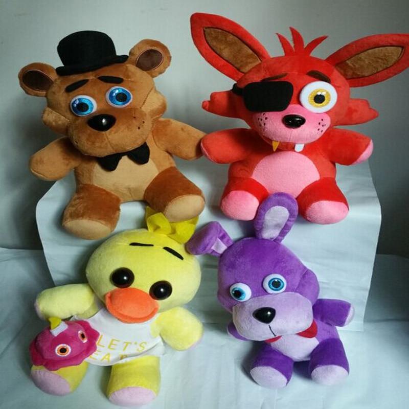 Chaud! 4PCS / lot cinq nuits à 4 poupées en peluche foxy 10 '' 25cm de freddy / Bonnie / Chica / Freddy jouets en peluche enfants