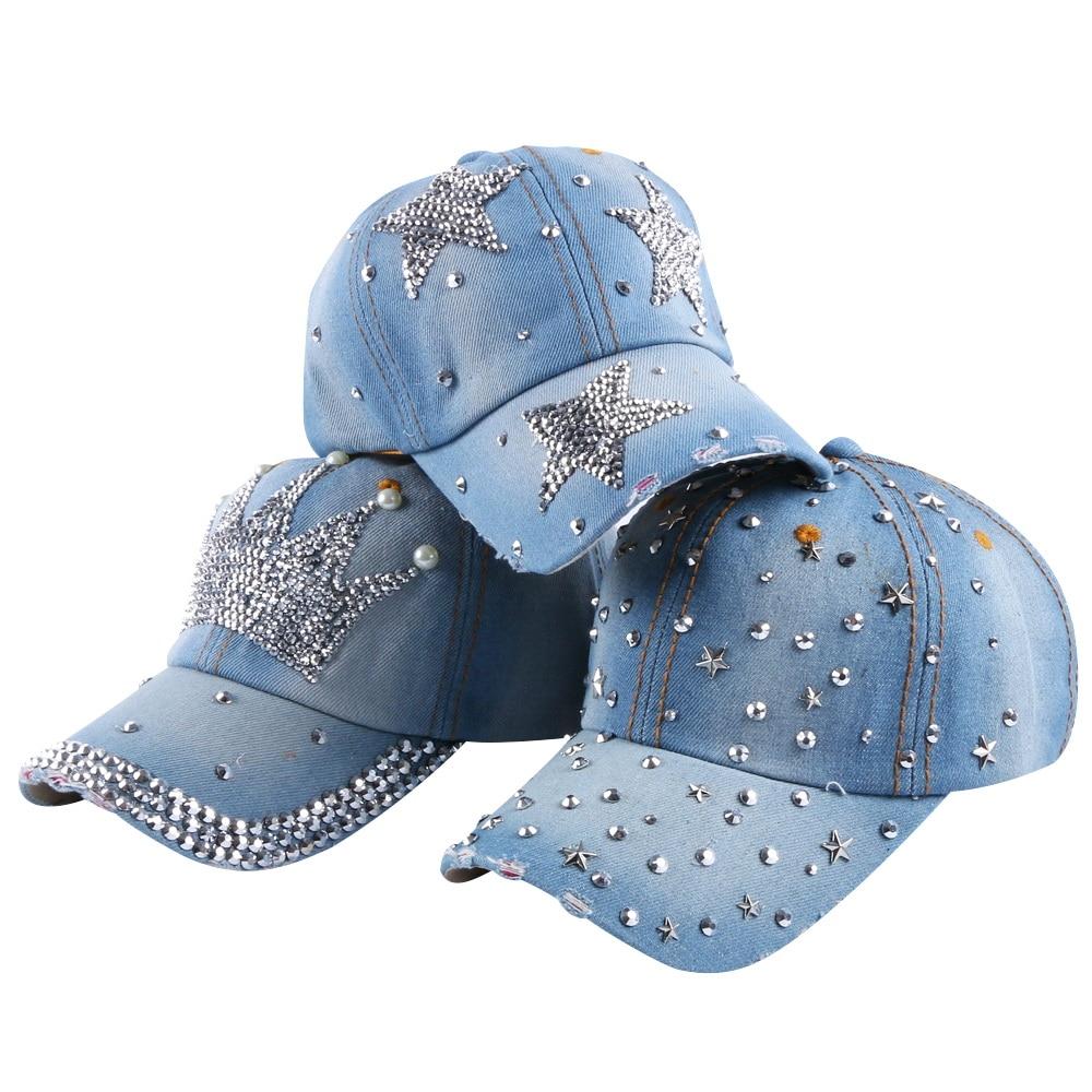 Image hot wholesale cheap new design large cute star shaped women girl rhinestone denim snapback cap summer casual baseball caps hats