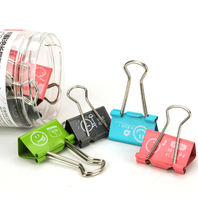 Cute Kawaii Metal Clamp Paper Clips School Binder Clip Photo Holder Stationery Office Binding Supplies deli binder clip 8552 four colors wallet file document paper note memo clips 24 pcs a pack office supplies stationery