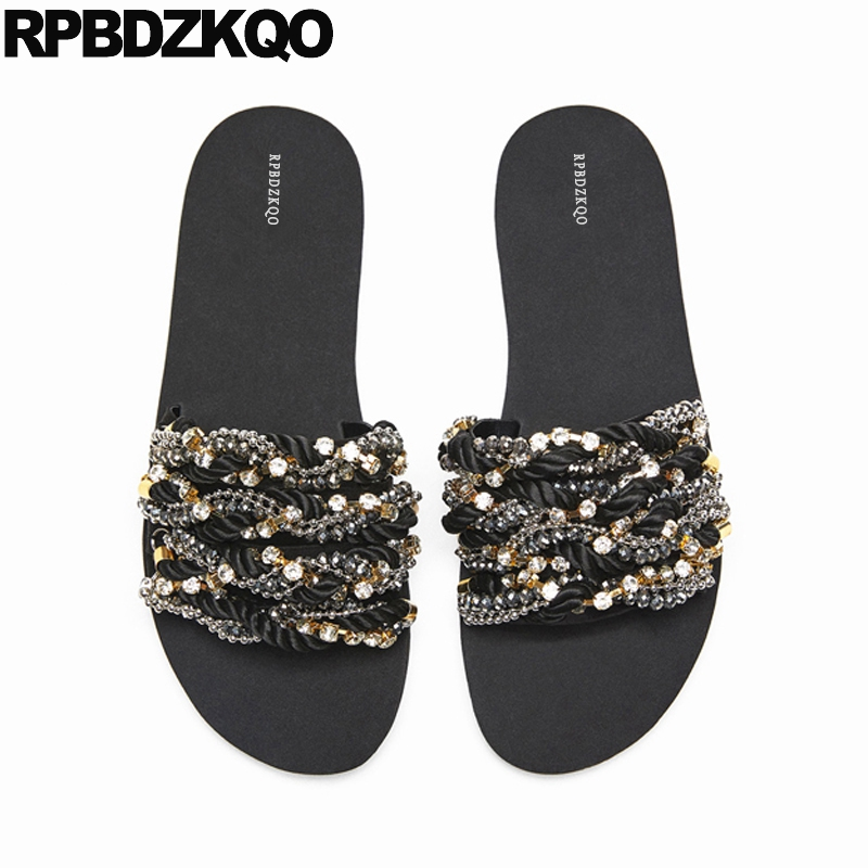 Rhinestone Shoes Jewel Women Sandals Flat Summer 2018 Slip On Slippers Soft Wide Fit Slides Diamond Crystal Big Size Open Toe black flat casual designer sandals women luxury 2017 summer slip on embellished pearl soft slippers slides shoes open toe metal